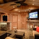 Inside of cabana with TV and Fireplace