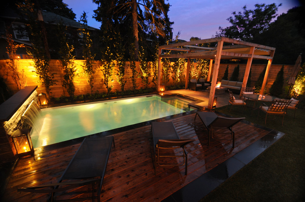 Pool lighting and fire pit